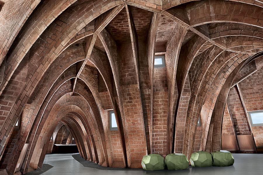 Arches of the attic of La Pedrera by Antoni Gaudí