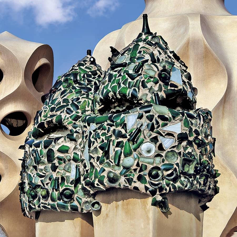 Detalle del tejado de La Pedrera, de Antoni Gaudi