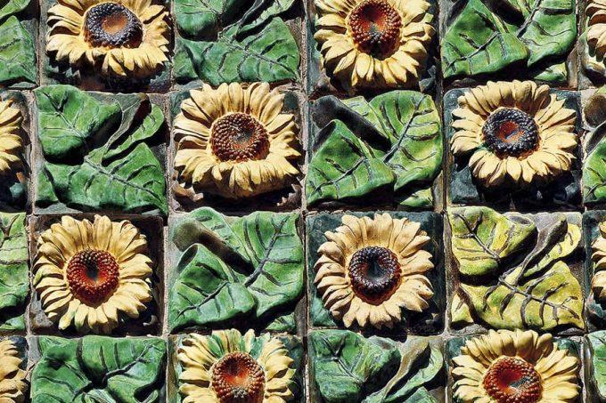 Ceramic sunflower tiles, Casa Vicens by Antoni Gaudí