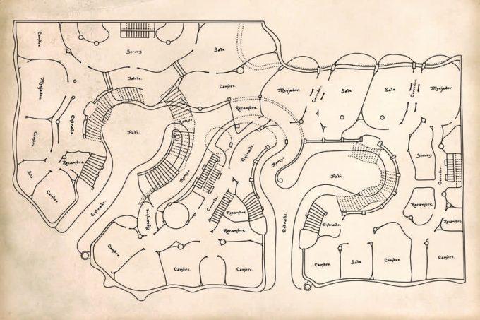 Map of La Pedrera by Antoni Gaudí