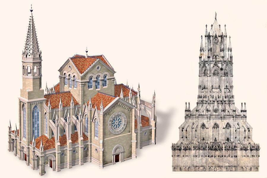 diSketches of the Sagrada Familia project