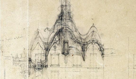 Boceto Dibujo Plano Casa Batllo Gaudi Dosde Publishing