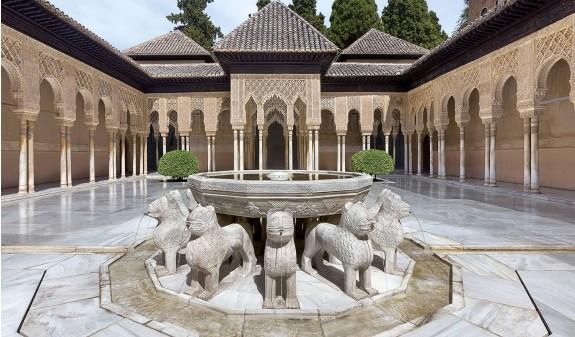 Patio De Los Leones Alhambra Granada Dosde Publishing