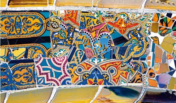 Azulejos Flores Mosaico Park Guell Gaudi Dosde Publishing